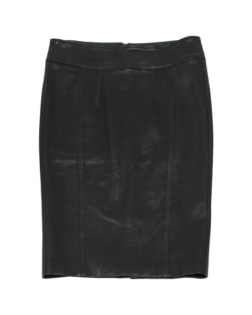 Burberry - Black Pre-owned Leather Mid-length Skirt - Lyst