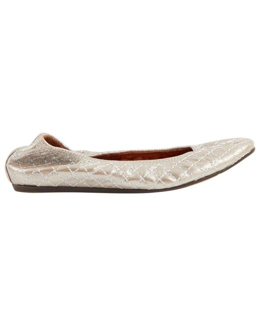 Lanvin - Metallic Pre-owned Leather Ballet Flats - Lyst
