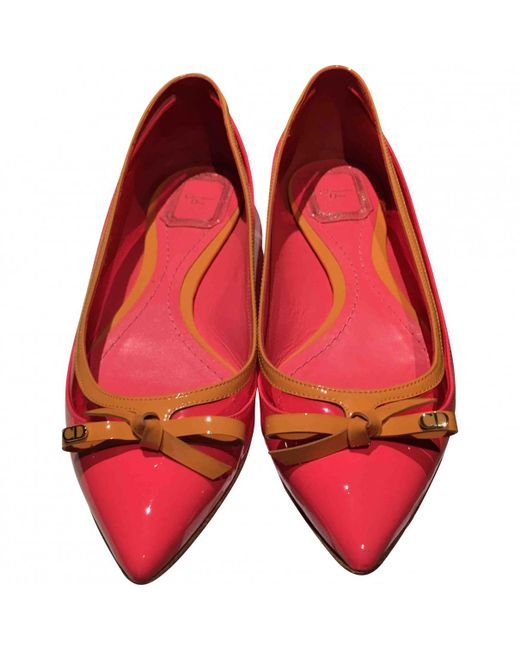 Dior | Red Pre-owned Leather Ballet Slippers | Lyst