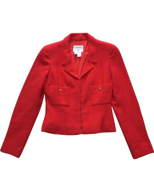 Chanel - Red Wool Jacket - Lyst