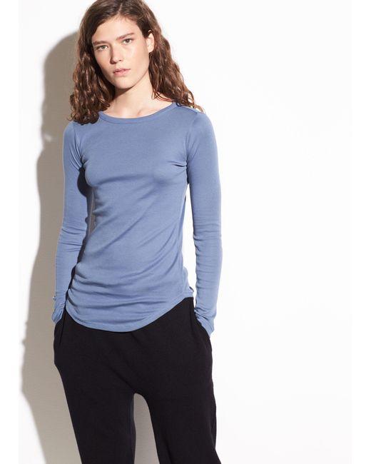 Vince - Blue Shirttail Long Sleeve Pima Cotton Top - Lyst
