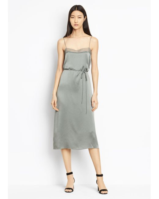 Vince | Gray Silk Lace Trimmed Cami Dress | Lyst