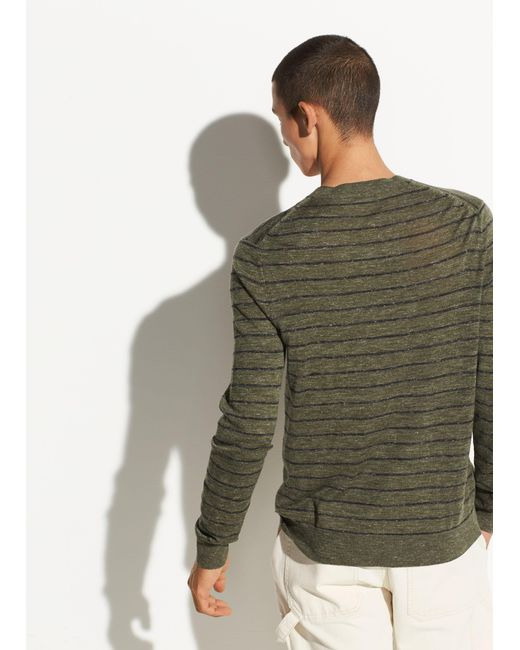 a2c17b10 ... Vince - Green Striped Wool-linen Crew for Men - Lyst ...