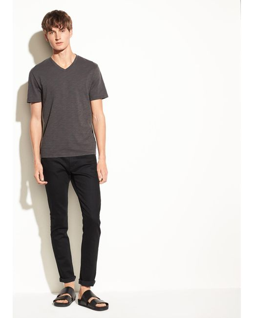 Vince - Gray V-neck Tee for Men - Lyst