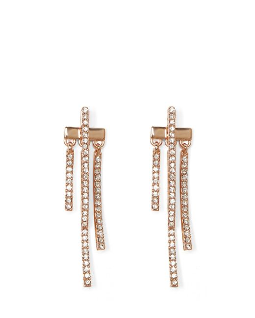 Vince Camuto | Metallic Rose Goldtone Pavé Drop-back Earrings | Lyst