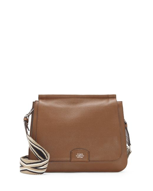 Vince Camuto | Brown Lyssa – Embroidered-strap Flap Bag | Lyst