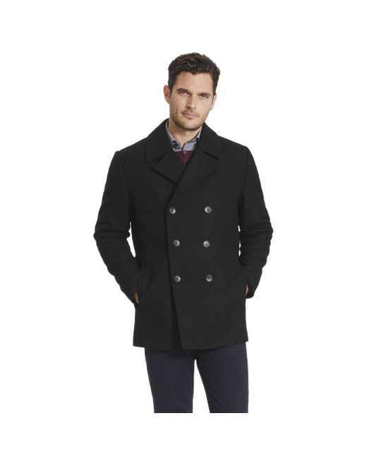 Vince Camuto | Black Double Breasted Pea Coat | Lyst