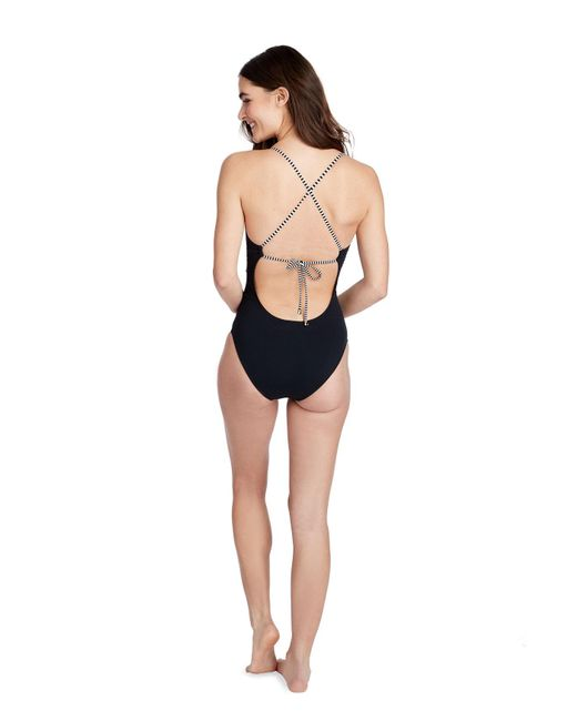 f50c95ba57 ... Vineyard Vines - Black Sarah Stripe Sconset One-piece Swimsuit - Lyst  ...