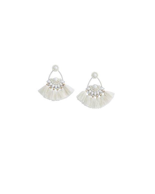 Vineyard Vines - White Beaded Tassel Fan Earrings - Lyst