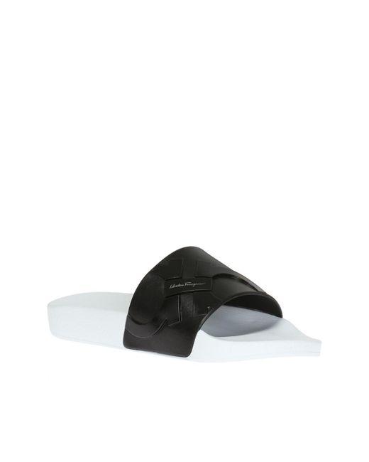 56bb5e452f2ea ... Ferragamo - Black Logo Slides for Men - Lyst ...