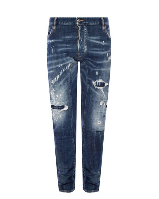 DSquared² Blue 'tidy Biker Jean' Distressed Jeans for men