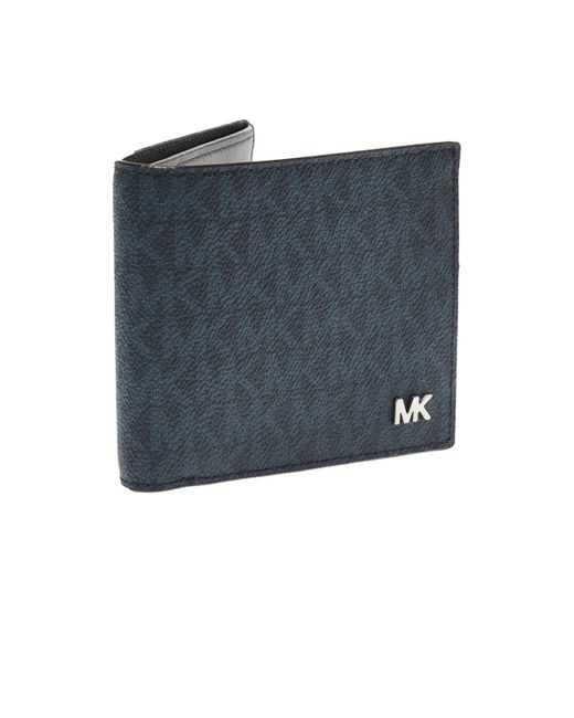 628d81d70ddb Michael Kors Bi-fold Wallet With Logo in Blue for Men - Save 16% - Lyst