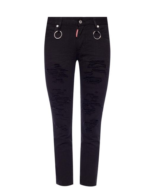 DSquared² - Black Runway Straight Cropped Jeans - Lyst
