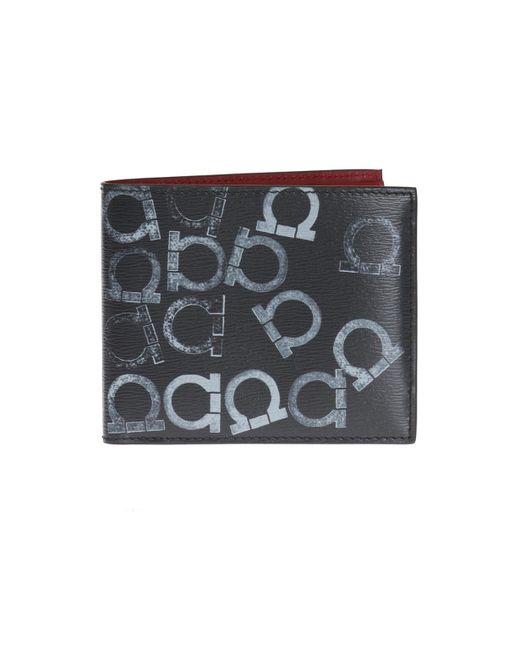 Ferragamo - Black Logo-printed Bi-fold Wallet for Men - Lyst