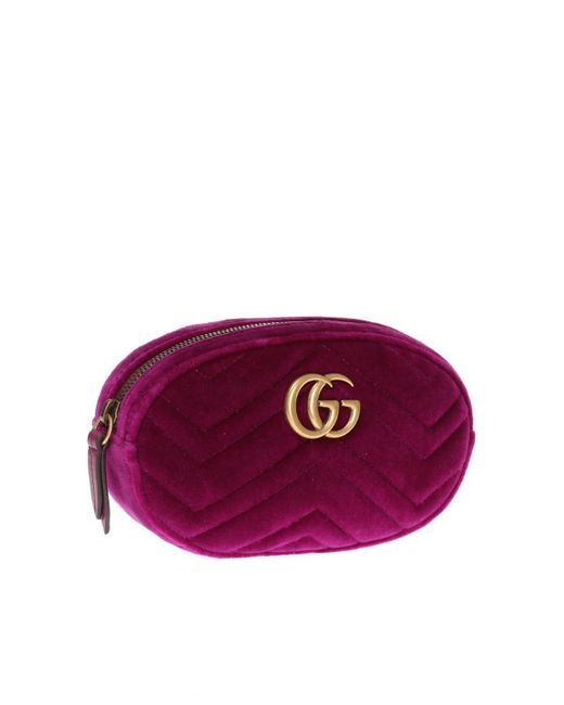 1a4452aa87e3 ... Lyst Gucci - Purple  GG Marmont  Velvet Belt Bag ...