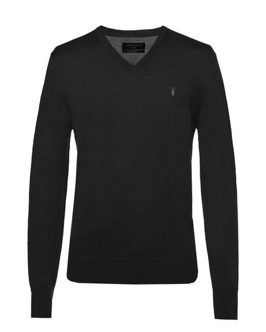 AllSaints - Black 'mode' Logo-embroidered Sweater for Men - Lyst