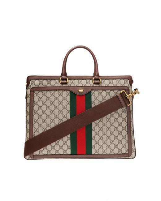 c6fca02a5b3e Gucci - Brown 'GG Supreme' Canvas Briefcase for Men - Lyst ...