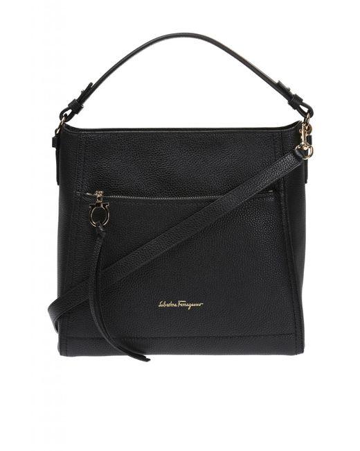 ab84c52f4bdf Ferragamo - Black  ally  Leather Shoulder Bag - Lyst ...