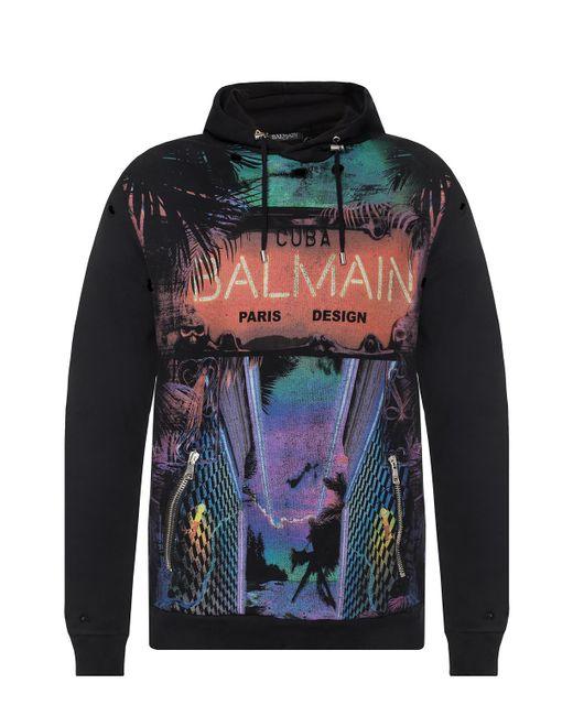 117017ef409 Balmain Logo-printed Sweatshirt in Black for Men - Save 61% - Lyst