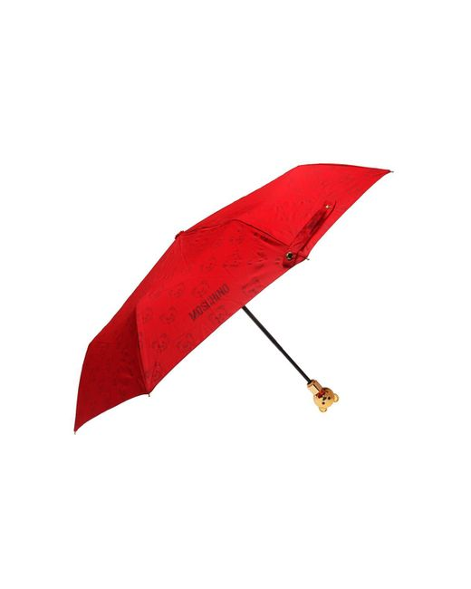 Moschino - Red Branded Folding Umbrella - Lyst