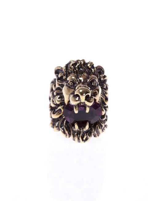 Gucci - Metallic Lion's Head-shaped Ring - Lyst