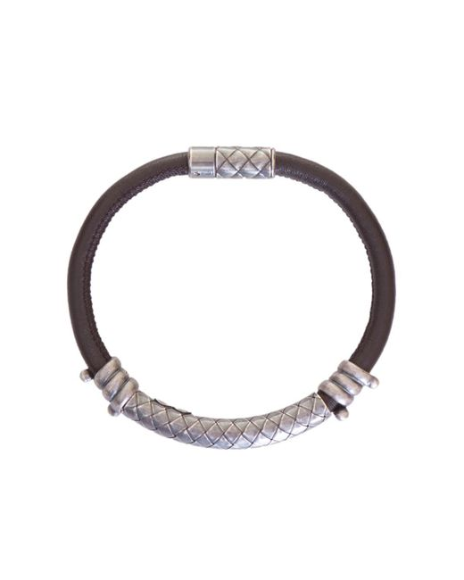 Bottega Veneta - Metallic Silver Detail Leather Bracelet for Men - Lyst