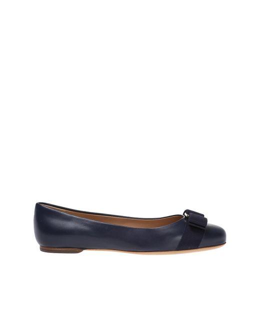 Ferragamo - Blue 'varina' Leather Ballet Flats - Lyst