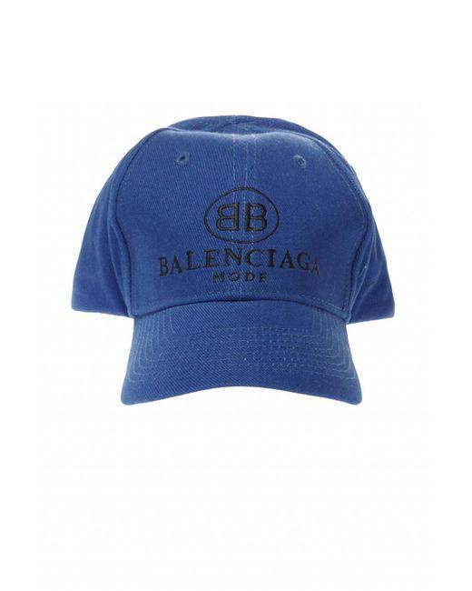 Balenciaga Blue Embroidered Logo Baseball Cap for men