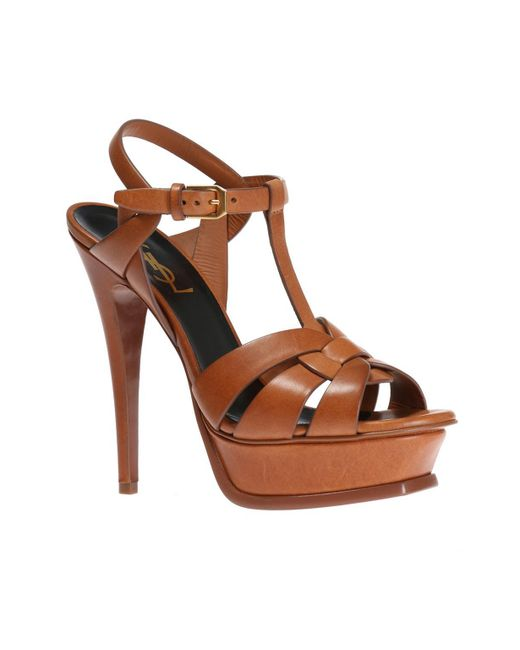 43ccd8c92c4 ... Lyst Saint Laurent - Brown  tribute  Platform Sandals ...