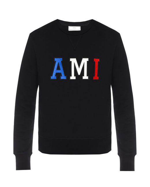 AMI - Black Logo-stitched Sweatshirt for Men - Lyst