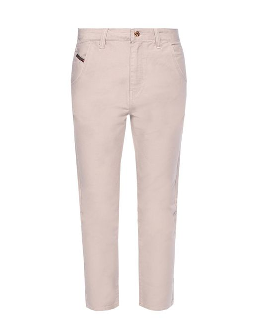 DIESEL - White Tapered Leg Trousers - Lyst