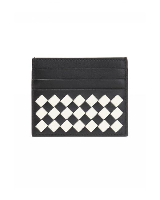 Bottega Veneta - Black 'intrecciato' Pattern Card Case - Lyst