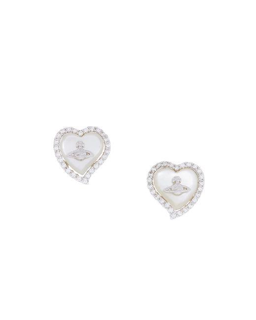 Vivienne Westwood | White Leontyne Heart Earrings | Lyst