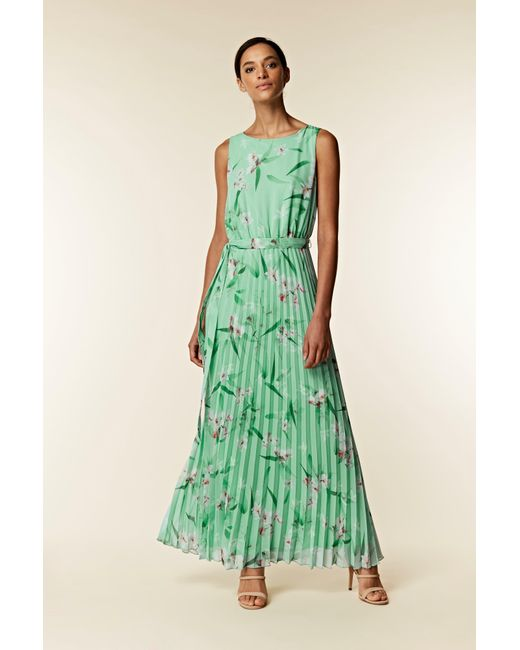 0cd13dc5f86 Wallis Mint Green Floral Pleated Maxi Dress in Green - Save 50% - Lyst