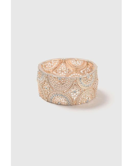 Wallis - Multicolor Rose Gold Filigree Stretch Bracelet - Lyst