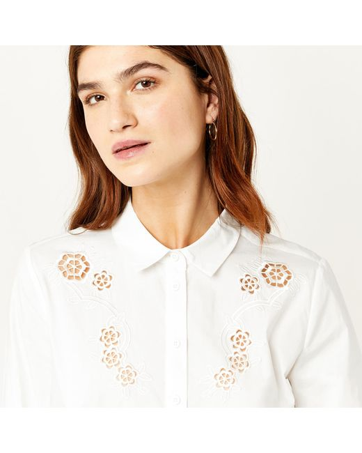 Warehouse   White Cutwork Embroidered Shirt   Lyst
