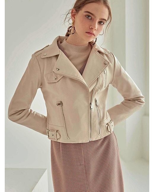 YAN13 Natural Trendy Faux Leather Rider Jacket Cream