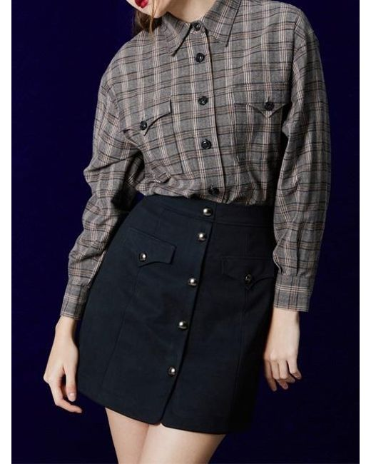W Concept | Blue High Waist Button Skirt_dark Navy | Lyst