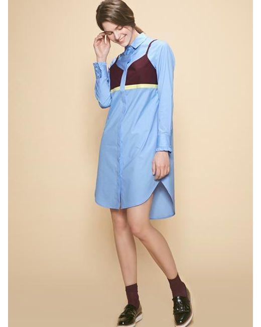 W Concept - Blue Bel Shirt Dress - Lyst
