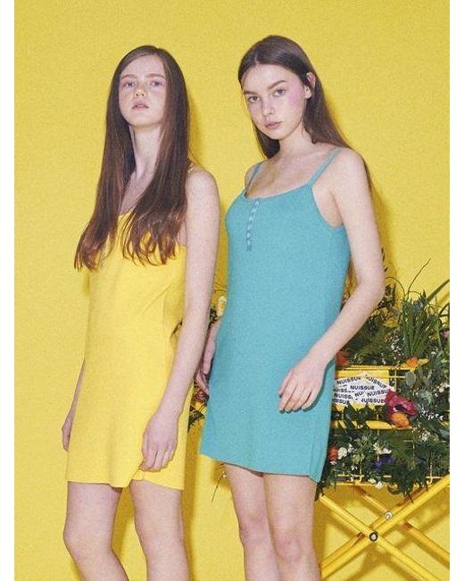 NUISSUE | Blue Button Knit Dress Mint | Lyst