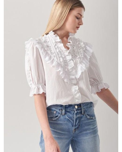 Blanc & Eclare - White Artemis Blouse Ss3522wh - Lyst