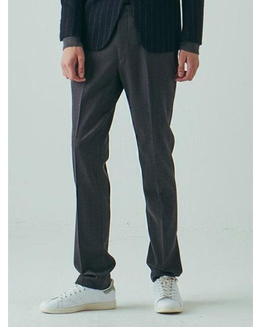 W Concept Straight Fit No Tuck Pants Grey In Gray For Men