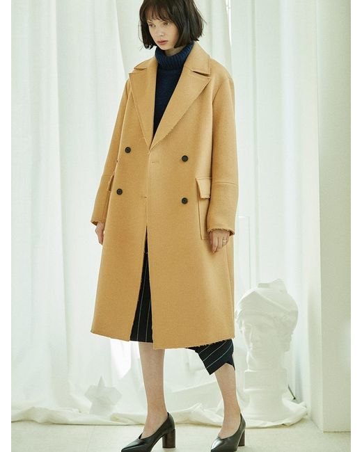 CLUE DE CLARE - Natural Stitch Double Coat Beige - Lyst