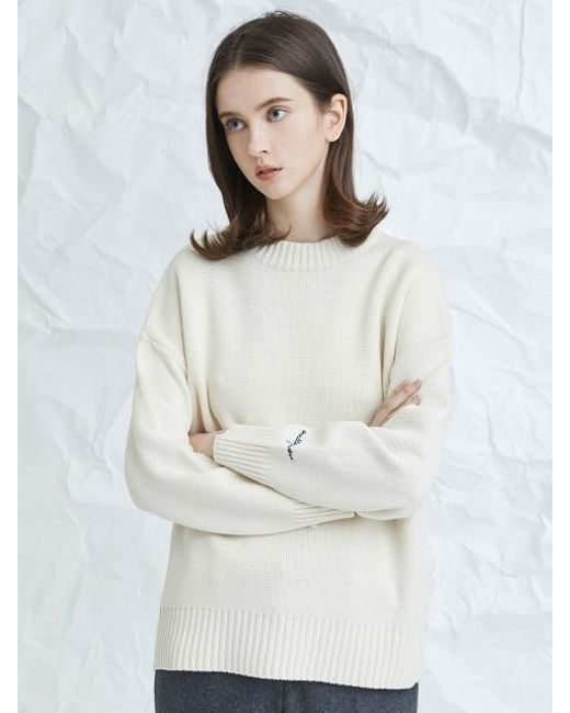 MILLOGREM   White Embroideried Cuffs Sweater Ivory   Lyst