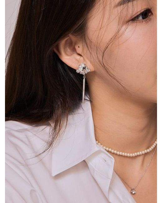 Matias - Crown Bar Earring _white - Lyst