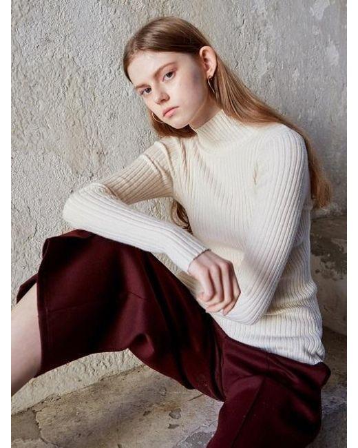 Liunick Monroe Half Turtleneck Sweater Ivory | Lyst