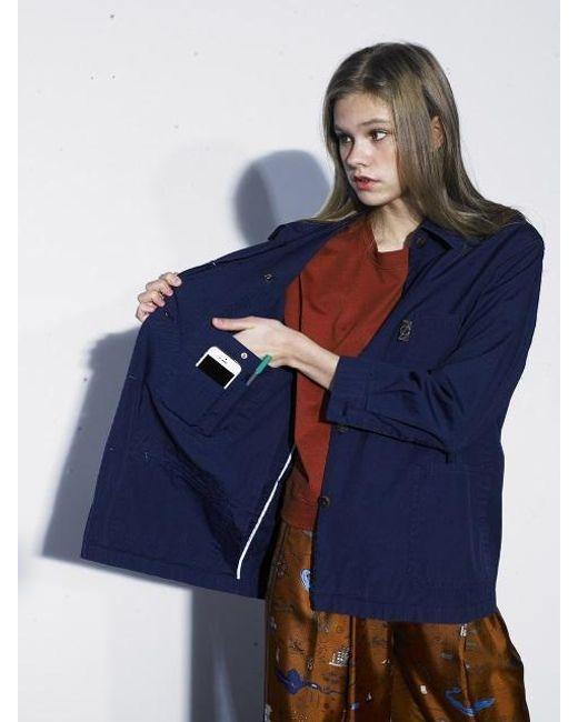 OUAHSOMMET - Air-cotton Coach Jacket_midnight Blue - Lyst