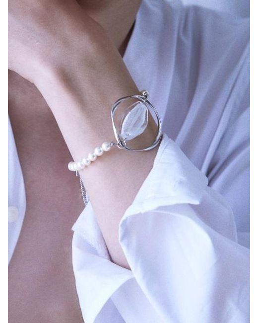 Matias - Metallic Twist Silver Glass Bracelet - Lyst