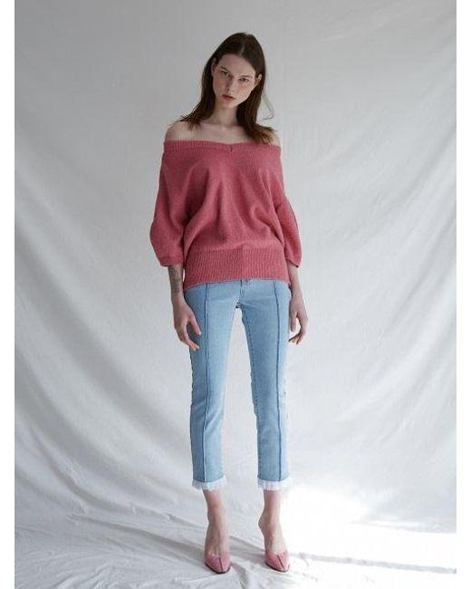W Concept - V-neck Bloom Knit Pink - Lyst