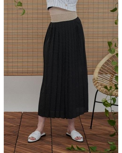 1159STUDIO - Black Mh6 Dot Pleats Skirt_bk - Lyst